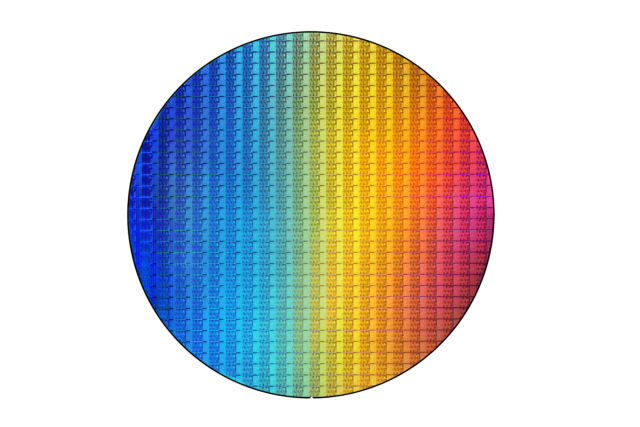 A shiny wafer full of Kaby Lake refresh parts.