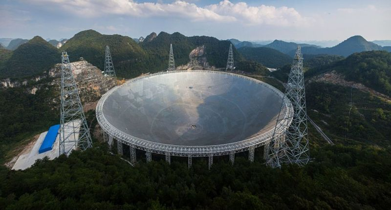 This picture taken on September 24, 2016 shows the Five-hundred-metre Aperture Spherical Radio Telescope in southwestern China's Guizhou province.