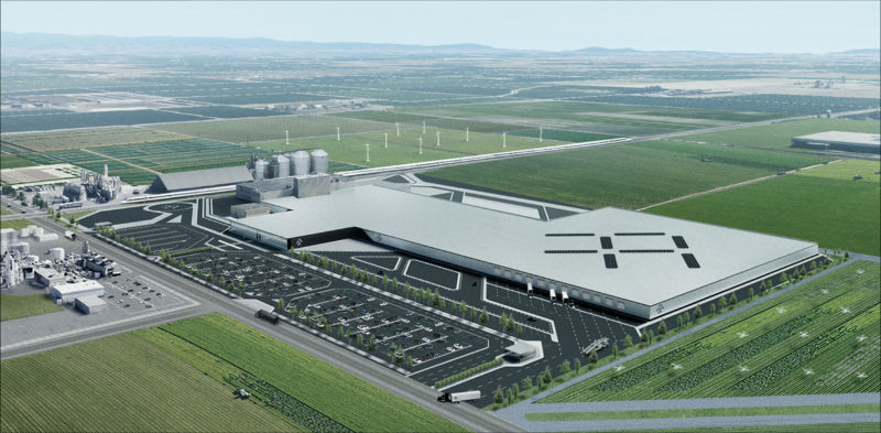 Faraday Future's rendering of the refurbished Hanford factory.