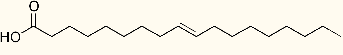 A typical fatty acid. Each bend represents a carbon atom linked to two hydrogens. Note the carbon linked to two oxygens at the left. That's what we want to get rid of to convert this to a hydrocarbon.