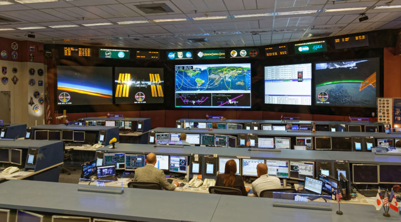An ISS control room at Johnson Space Center.