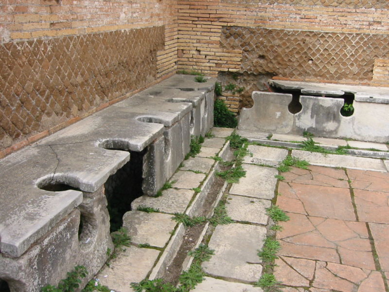 Public toilets in the Roman port city of Ostia once had running water under the seats. Ostia is where the researchers took a soil core sample to analyze lead pollution from pipe runoff.