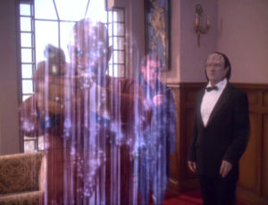 "In ""Our Man Bashir,"" Sisko, O'Brien, Kira, and Dax, divorced from their minds, are stored in the holosuite, where they adopt the personalities of holosuite characters. Here, they're beamed off the holosuite to be reunited with their minds."