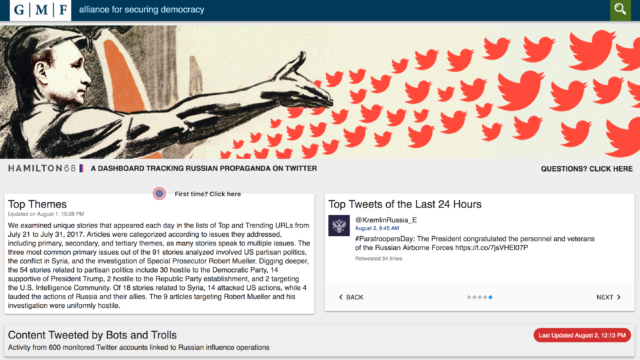 "New Web tool tracks Russian ""influence ops"" on Twitter 