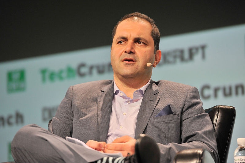 Shervin Pishevar speaking at the 2016 TechCrunch conference in San Francisco. Pishevar wrote a letter to Uber's board urging Benchmark Capital to drop its lawsuit against ex-CEO Travis Kalanick.