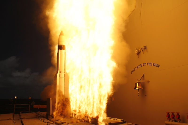 An SM-3 interceptor is launched by the 