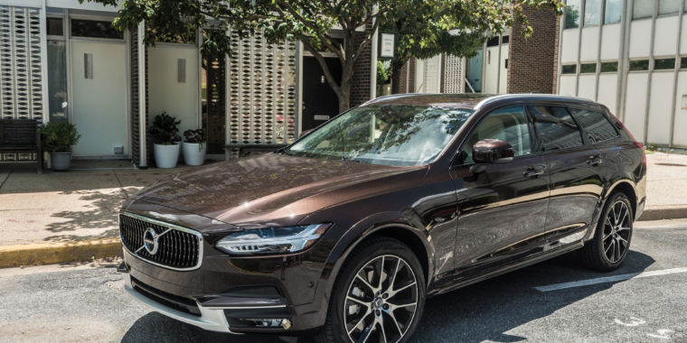 The 2017 Volvo V90 Cross Country, a brown station wagon ...