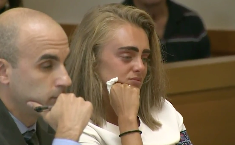 Michelle Carter listens in during her sentencing hearing Thursday with one of her attorneys by her side.