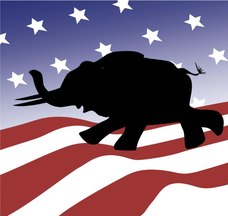 Illustration of an elephant—the Republican symbol—in front of an American flag.