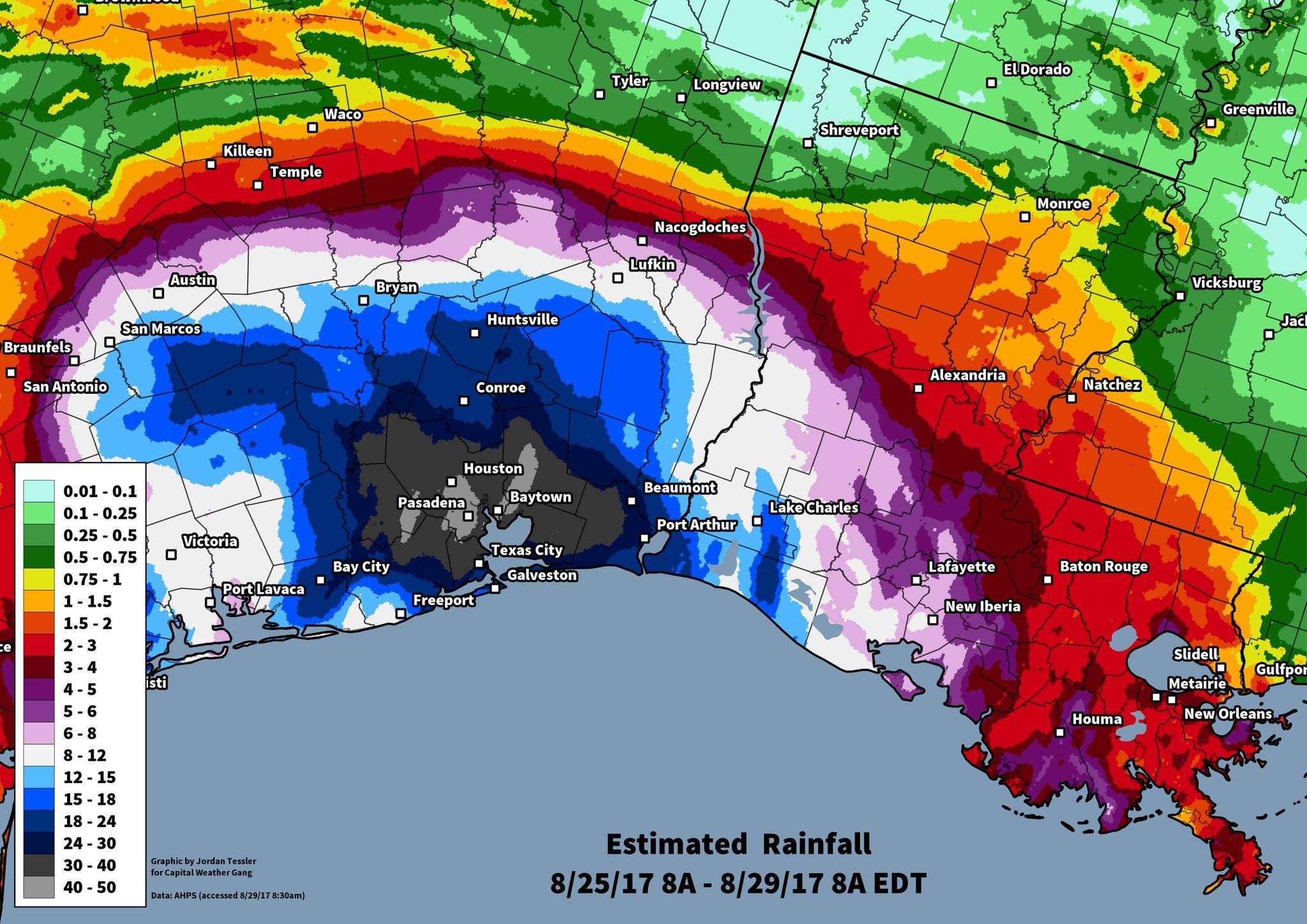 Harvey's estimated rains through Tuesday morning.