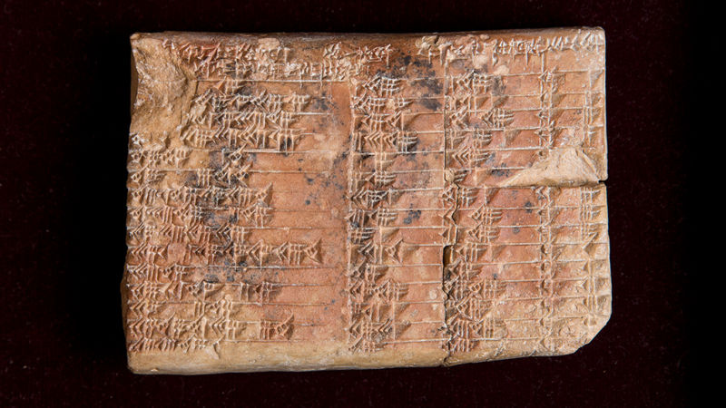 The 3,700-year-old Babylonian tablet known as Plympton 322 turned out to be a trig table, expressed in ratios of the lengths of the sides of the triangles, rather than angles.
