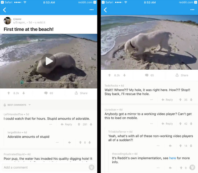 Reddit app on iOS: video plays at the top while you can scroll through comments on the bottom.