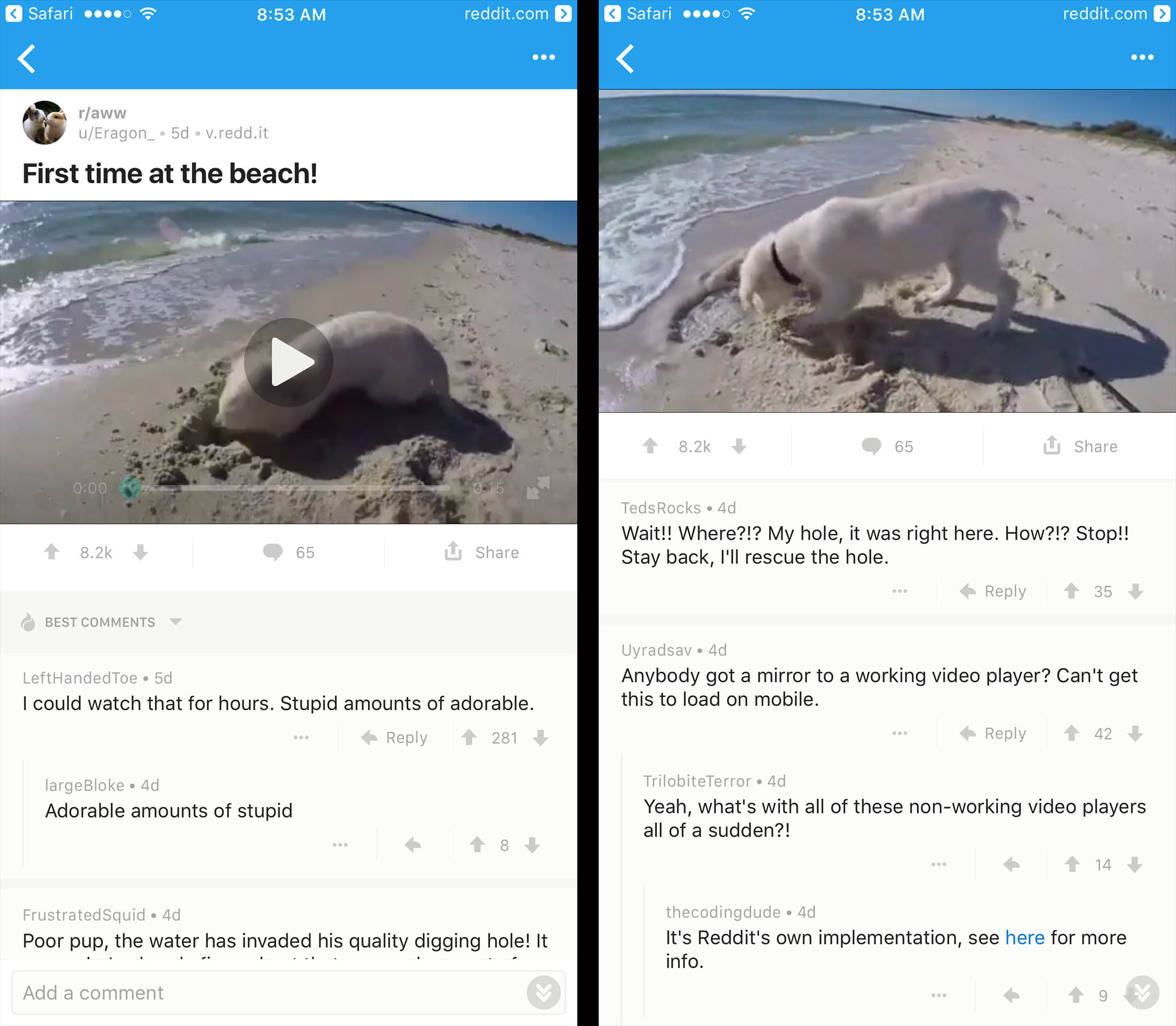 now you can post videos directly to reddit, no third-party service