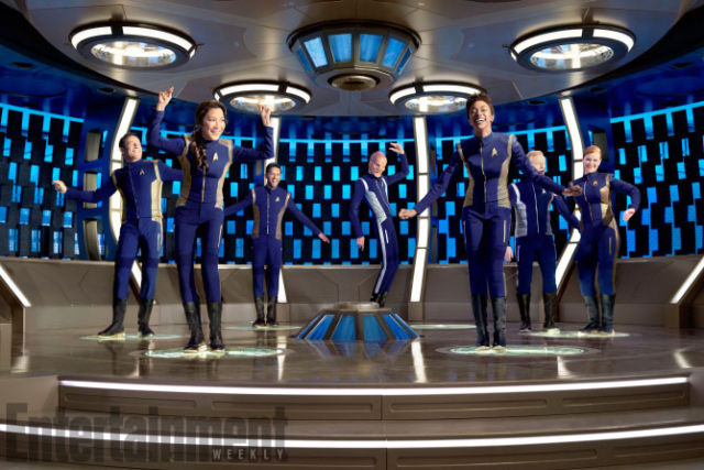 The cast of <em>Star Trek: Discovery</em> on their transporter pads.