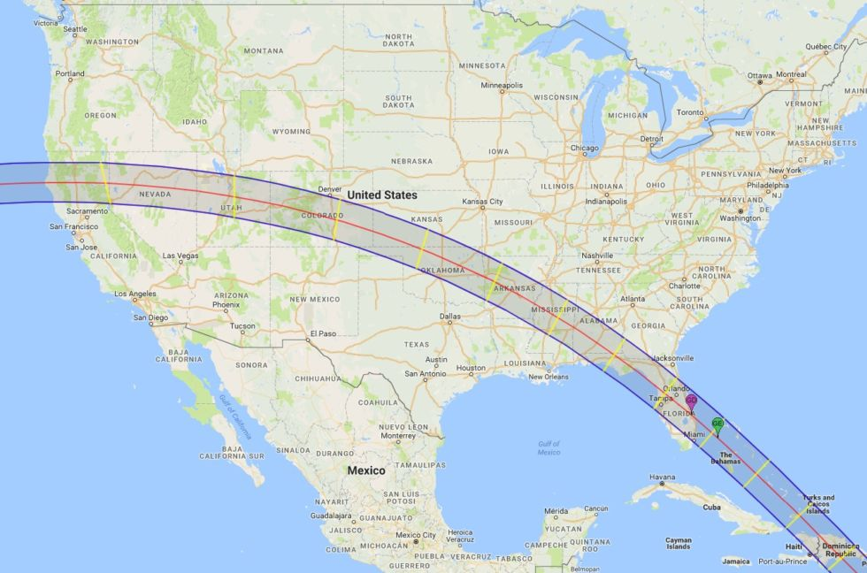 Path of totality for the 2045 event.