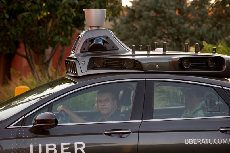 An Uber driverless Ford Fusion drives in Pittsburgh, Pennsylvania.