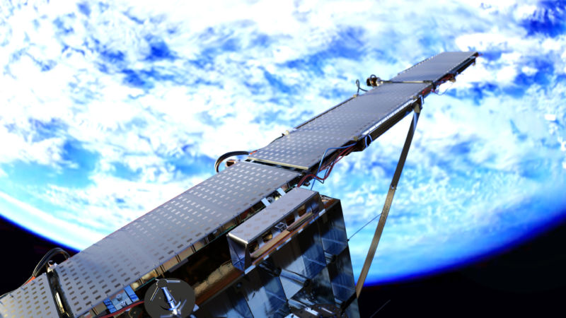 A rendering of ICEYE's SAR micro satellite deployed in space.