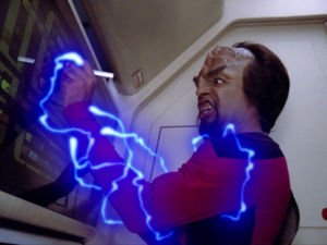 Picard, in the form of energy (much like the energy creature seen here), traveled through the <em>Enterprise's</em> systems and into the transporter's relays, merging with his physical pattern.