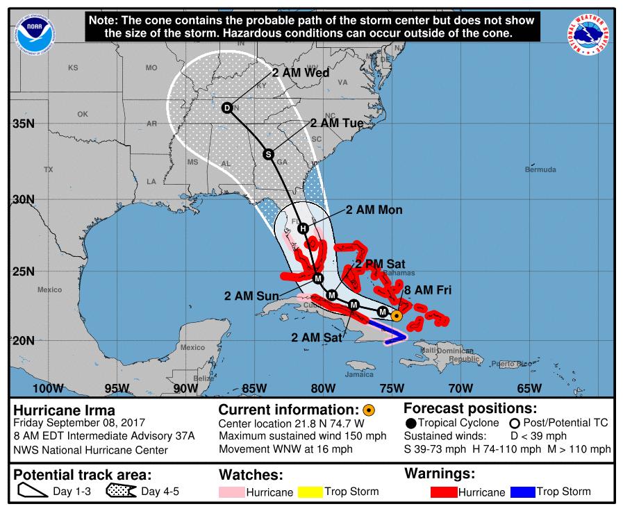 5am ET Friday track forecast for Hurricane Irma.