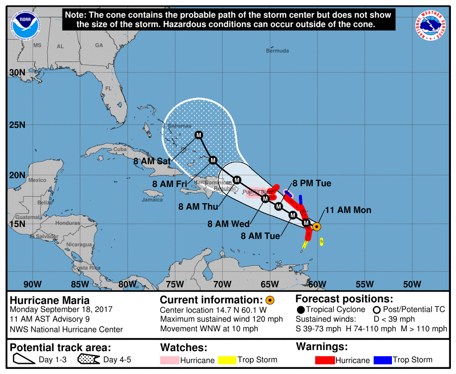 Official forecast track for Hurricane Maria at 11am ET.