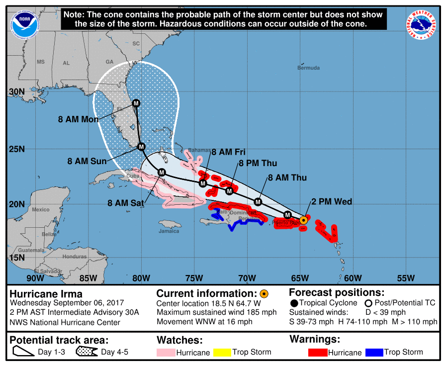 11am ET Wednesday official track for Hurricane Irma.