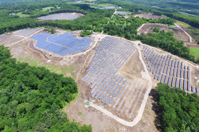 "From the Department of Energy: ""This photo shows the construction phase of a 16.5 MW DC solar farm built in Oxford, MA. This 130-acre property was previously known as the largest piggery in Massachusetts."""