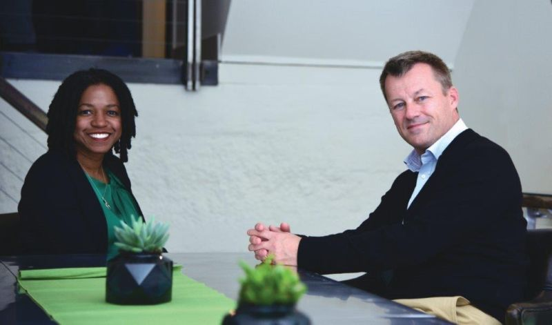 TaskRabbit CEO Stacy Brown-Philpot (left) and Ikea CEO Jesper Brodin (right).