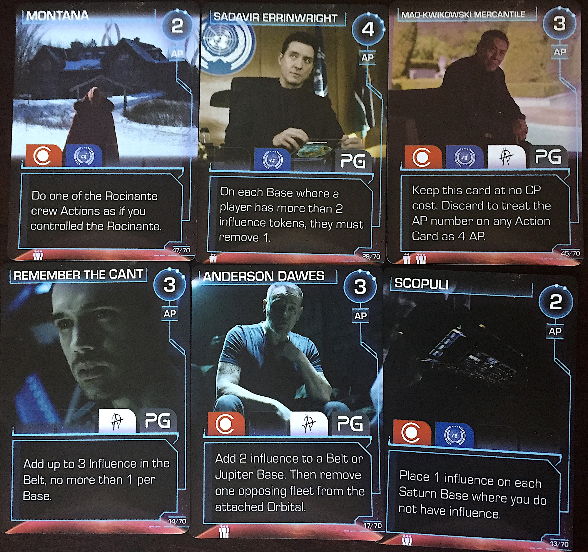 Some of the game's many event cards.