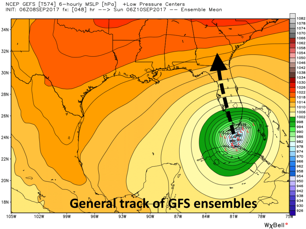 GFS ensemble forecast for Sunday at 2am ET. Most members have the storm over the Keys, bound for the Everglades.