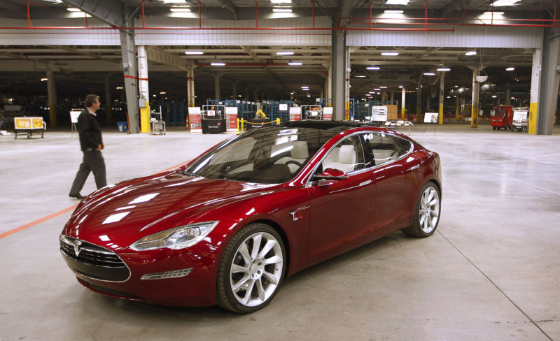 A Tesla Model S electric car sits in the Tesla Motors Inc. auto plant, formerly operated by New United Motor Manufacturing Inc. (NUMMI), in Fremont, California, on Wednesday, October 27, 2010.
