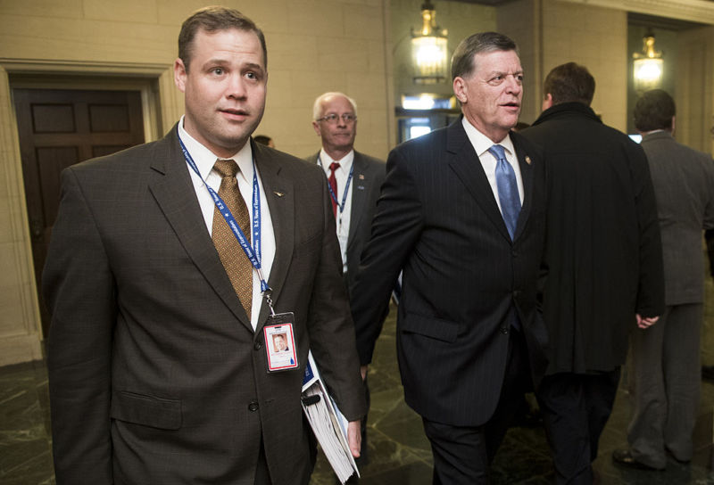 Jim Bridentstine, left, in the halls of Congress.
