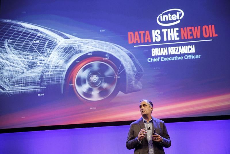 Brian Krzanich, chief executive officer of Intel Corp., speaks during Automobility LA ahead of the Los Angeles Auto Show in Los Angeles, California, US, on Tuesday, November 15, 2016.
