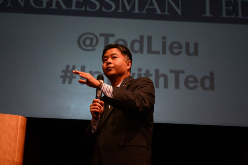 Rep. Ted Lieu holds a town hall at Santa Monica High School on April 20, 2017 in Santa Monica, California.