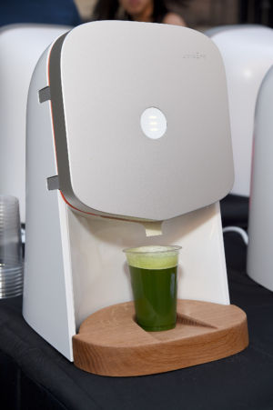 A Juicero juicer on display. (Photo by Michael Kovac/Getty Images for The Humane Society of the United States)