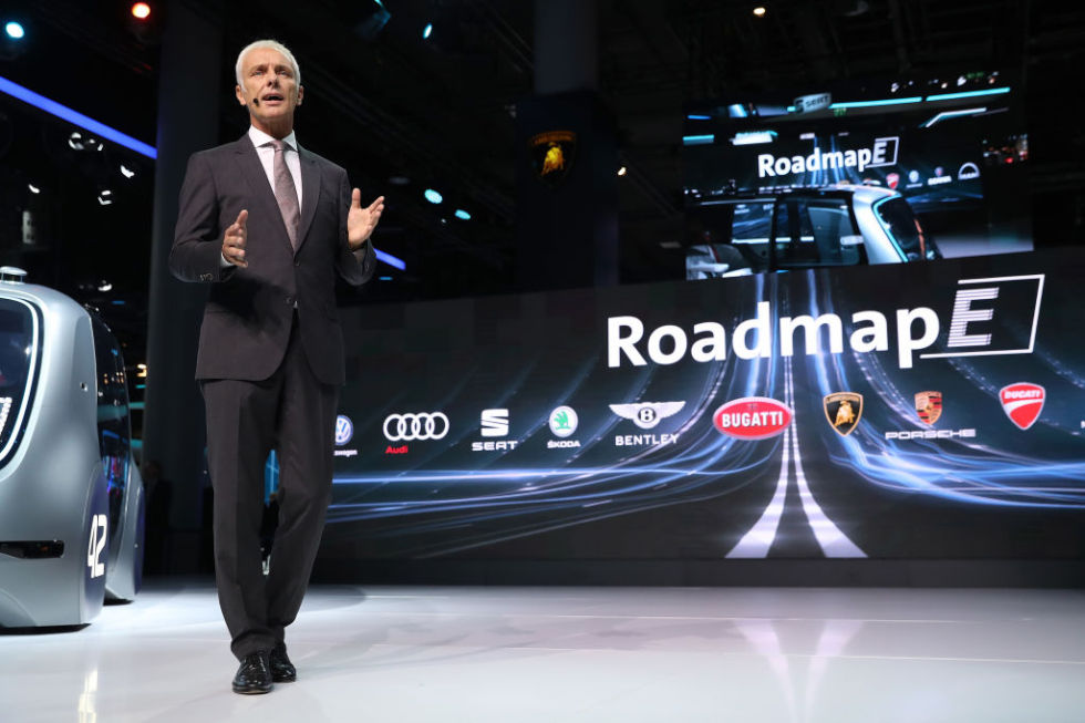 VW Group Chairman Müller on stage introducing Roadmap E, the company's plan to electrify its vehicle lineup by 2030.