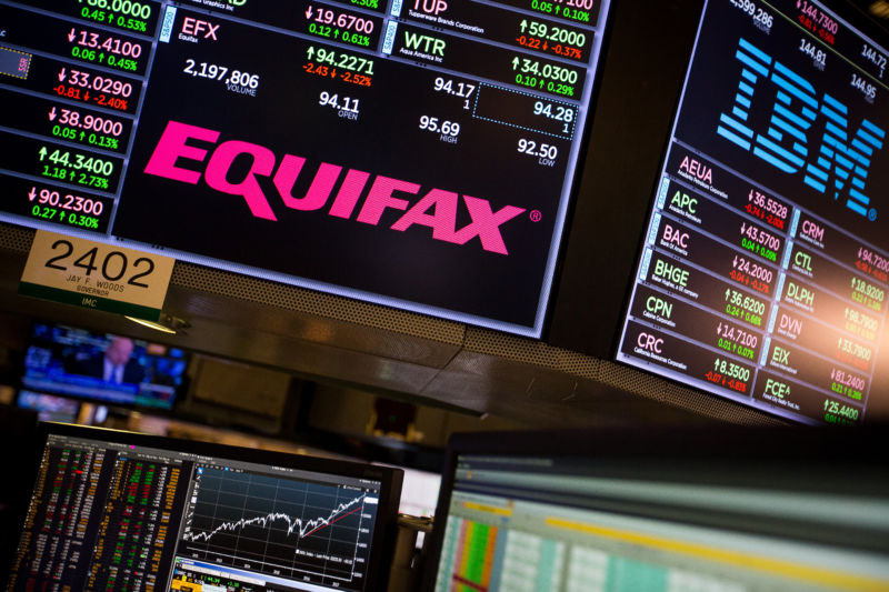 A monitor displaying Equifax Inc. signage on the floor of the New York Stock Exchange in New York on Friday, September 15, 2017.