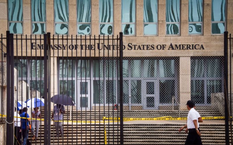 Picture of the US embassy in Havana, taken on September 29, 2017 after the United States announced it is withdrawing more than half its personnel in response to mysterious health attacks targeting its diplomatic staff.
