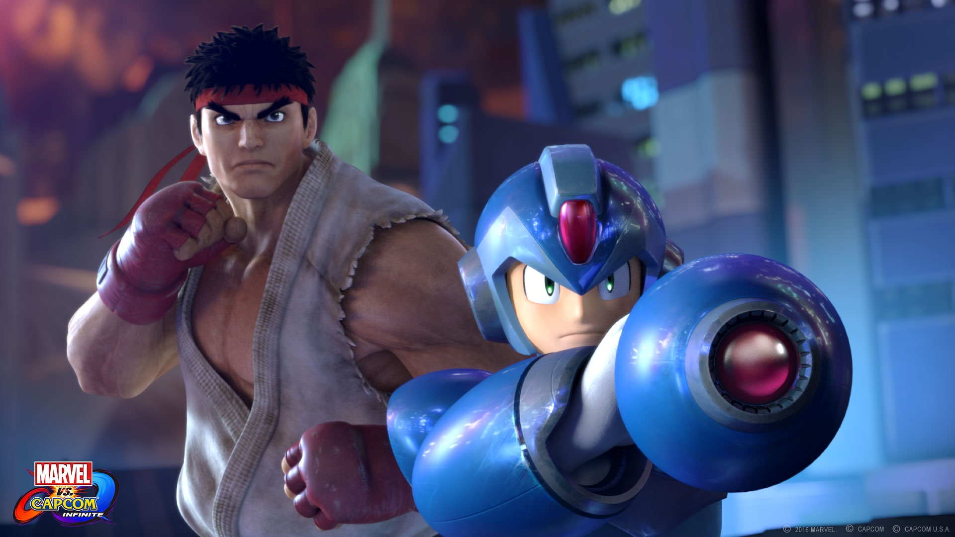 Seriously, it's just a bit weird to see mostly realistic human Ryu with kinda-creepy Megaman.