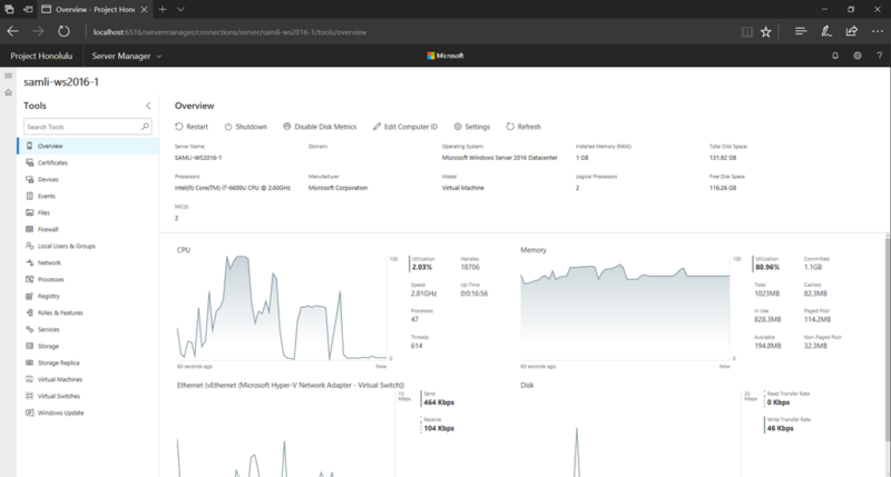 Project Honolulu user interface, one of the new features in Windows Server 2019.