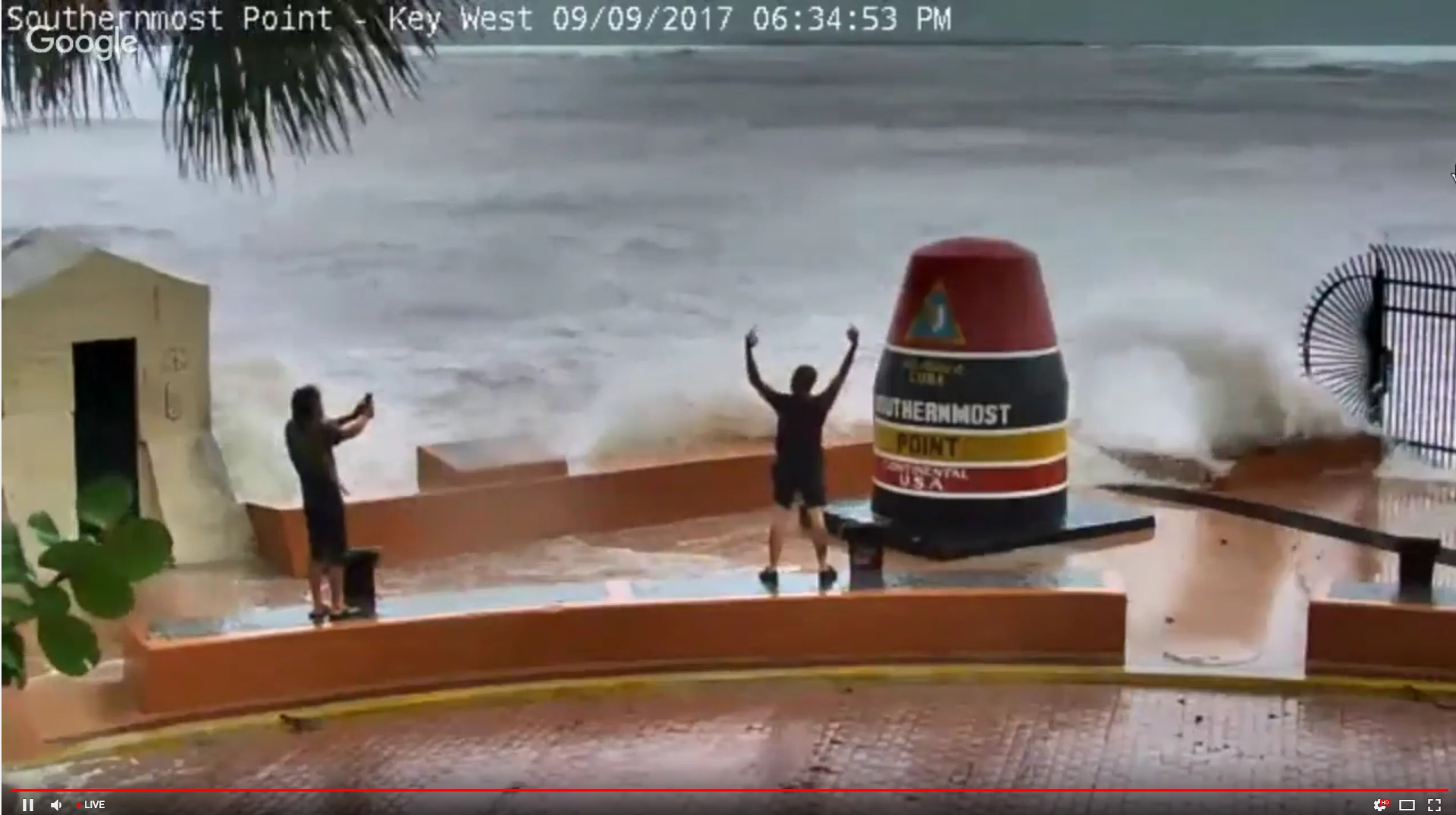 A screenshot from the Southernmost Point webcam on Saturday evening.