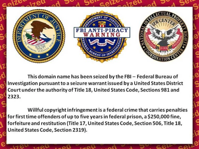 ShareBeast piracy site visitors are greeted with this FBI anti-piracy warning today.