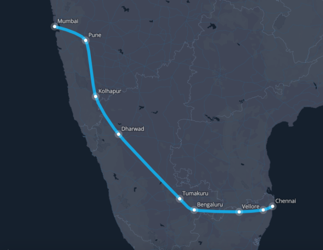 The Mumbai-to-Chennai route.