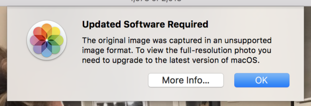 The Photos app in Sierra can preview HEIF images synced over iCloud but can't edit them.