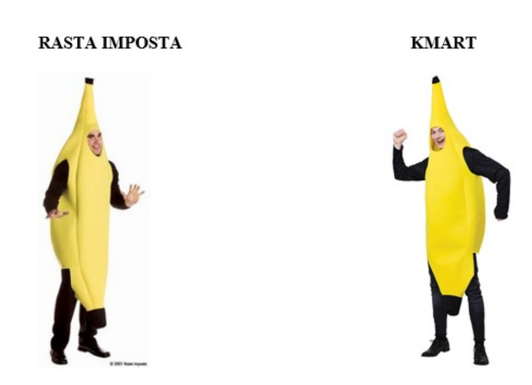 This screenshot from the lawsuit compares Rasta Imposta's banana costume with the one Kmart has been selling since it stopped doing business with Rasta Imposta.