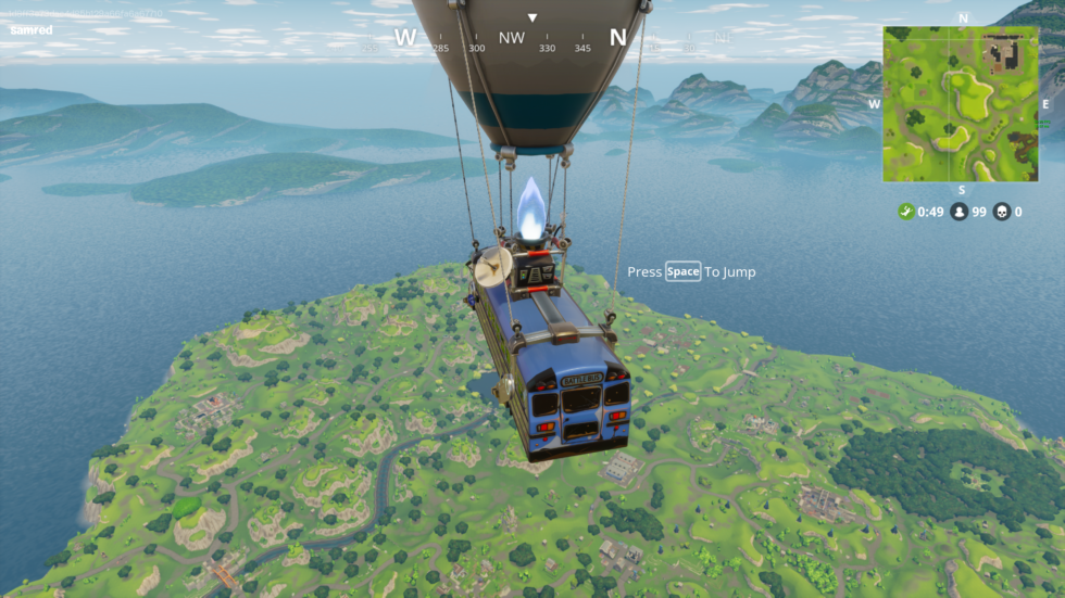 That may look like a screenshot from the popular game <em>PlayerUnknown's Battlegrounds</em> (aka PUBG), but it's actually from <em>Fortnite</em>'s new, PUBG-like mode called Battle Royale. Instead of parachuting onto an island from a plane, you parachute onto an island from a flying bus. Totally different!