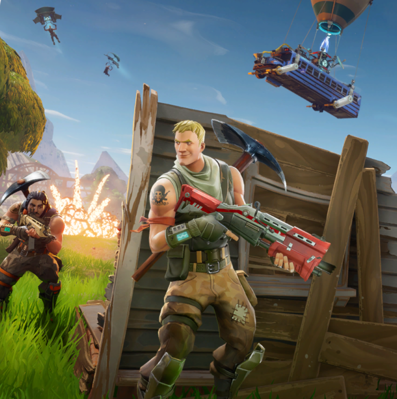 Fortnite's new Battle Royale mode includes this explosive splash screen.