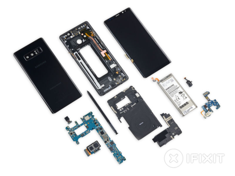 The Note 8 gets ripped apart. That's a lot of pieces!