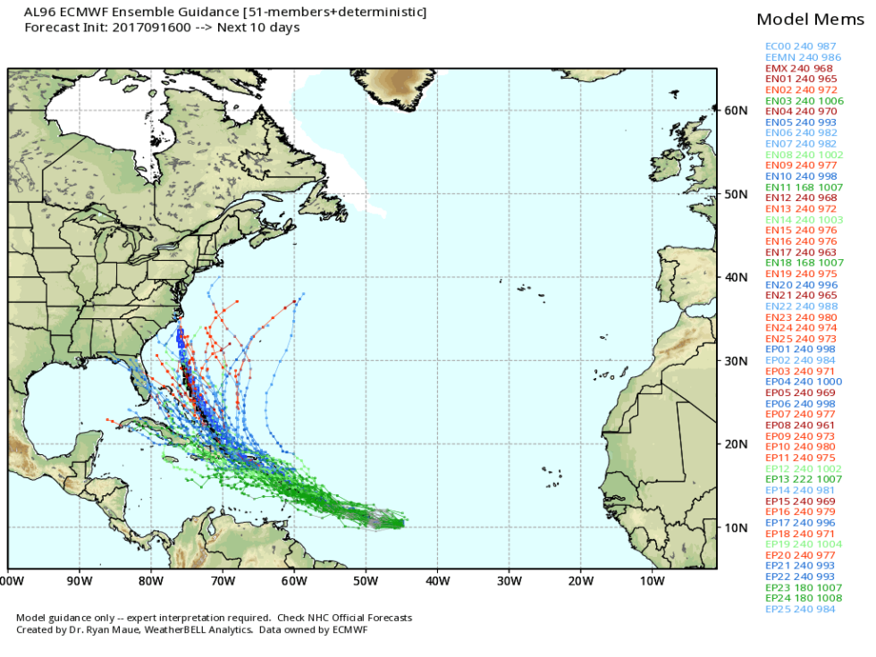 Ensemble forecast from the European model for Potential Tropical Cyclone 15.