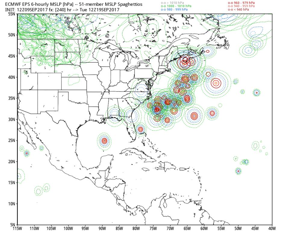 Saturday12z European model ensemble forecast for Hurricane Jose.
