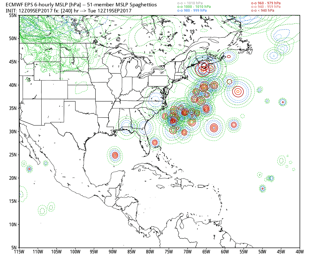 Saturday 12z European model ensemble forecast for Hurricane Jose.
